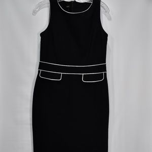 Talbots Black Sleevless Dress Piping Fitted 4